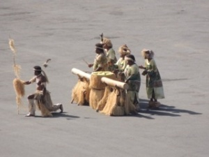 Part of the welcome committee - the drummers and one of the warriors