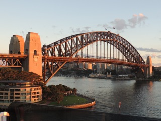 The Harbour Bridge turned golden by the sunrise