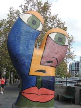 One of the mosaic sculptures along the riverbank