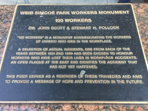 Just before the car hire garage, we came to a memorial to workers who had been killed doing their jobs as a reminder about the need for protection and health & safety. A caring city.